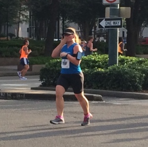 Blowing a kiss to my husband just before mile two!